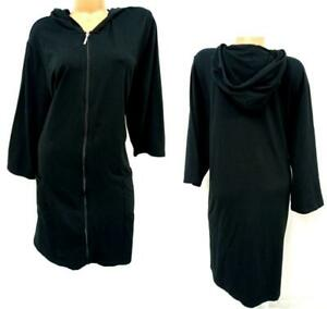 D & co. beach black terry cloth full zipper 3/4 sleeve hoodie cover up dress 3X