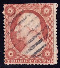 #26A - 3 Cents 1857, 67L10e, Recut inner right frame line, 7-bar circular grid