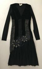 Jean Paul Gaultier FUZZI Velvet Mesh Long Sleeve Midi Dress Size 42 Small