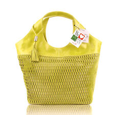 LAZETTI Italian Made Natural Yellow Green Perforated Leather Designer Tote Purse