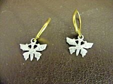 Back Pierced Earrings With Brass Loop Dull Finish Silver Tone Dragonfly Lever