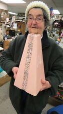 1940 to 1950 eames era / pink pyramid vase / 12 inches art pottery / not marked