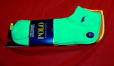 NWT POLO RALPH LAUREN 3 pairs yellow/orange/lime mens technical sport socks XL