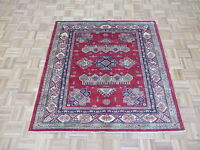 5 X 5 Square Hand Knotted Red Fine Super Kazak Shirvan Oriental Rug G4654