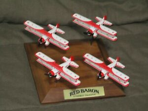 Red Baron Die Cast Stearman Squadron 4 plane set with base Excellent display