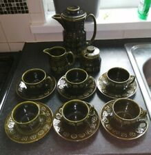 More details for lord nelson pottery coffee set celtic green cups saucers coffee pot sugar milk