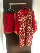 Pakistani red 3 piece salwar kamees shafoon suit with embroydary