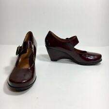 Geox Respira Womens US 9.5 Dark Red  Burgundy Leather Wedge Heels Mary Janes