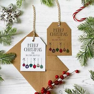 Personalised Christmas Bauble Gift Tags / Eco-Wrapping / Rustic Present Labels