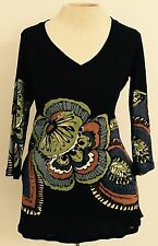 New NWT Papillon Blanc Women's Size Medium Black Floral Tunic Green Blue Boho