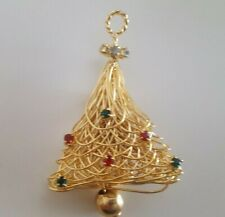 Gold Tone Christmas Bell Pin Red And Green Rhinestones