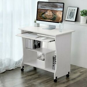 White Black Computer Desk Small Laptop Pc Study Table Home Office Wooden Desk