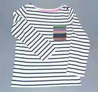 Girls Mini Boden Stripe Breton Long Sleeve Cotton Top With Sequins 3-16 NEW
