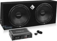 """Rockford Fosgate Prime 800W Amplified Dual 12"""" Subwoofer Enclosure Bass Package"""