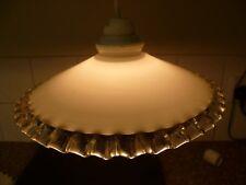 Vintage, art déco, french, sertis Edge, verre opaque Pendentif Plafonnier