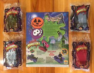 Universal Studios Monsters Burger King Toy Complete Set Unopened Kid's Meal 1997