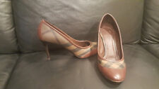 Burberry Women's Shoes Pumps Check Halifax Smoke Brown Heel Italy Leather 41