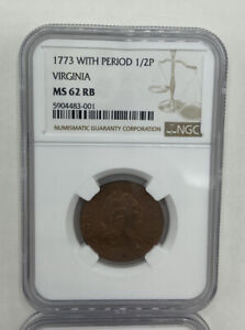 1773 Virginia Half Penny NGC MS62RB With Period. Beautiful Coin!!!