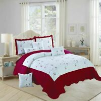 3 Piece Quilted Bedspread Luxury Comforter Bed Throw Double King Size Pillowcase