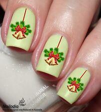 Xmas Christmas Golden Bell Nail Art Sticker Water Transfer Decal 79