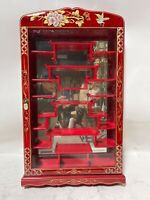 Oriental Chinese burgundy lacquer hanging wall cabinet