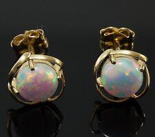 585 Gold Ohrstecker Gelbgold 14 Karat Opal 7 mm 1 Paar in Geschenkbox