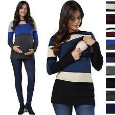 Happy Mama Women's Maternity Nursing Knitwear Ribbed Crew Neck Long Sleeves 451p