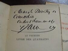 FRANCIS JAMMES LIVRES DES QUATRAINS 1923 ENVOI Signé POESIES NATURE ORTHEZ