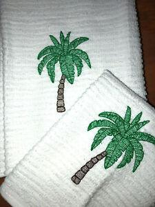 Embroidered Kitchen Bar Hand Towel/Wash Cloth Set H1372 Palm Tree Sketch
