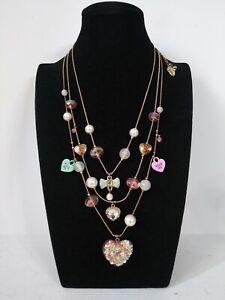 Betsey Johnson Vintage Candyland Candy Heart Valentine HUG KISS ME Necklace RARE