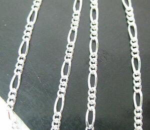 MADE IN ITALY 925 sterling silver 2mm FIGARO 35cm to 60cm CHAIN Necklace -UNISEX