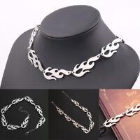 Punk Fire Flame Necklace Hip Hop Wave Sun Choker Rock Jewelry Accessories