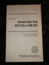 AISC Specification For Structural Joints Using ASTM A325 Bolts With AISC Pamph