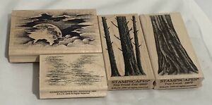 Stampscapes LANDSCAPE Tree Trunks Clouds Water Nature Rubber Stamps Lot of 4