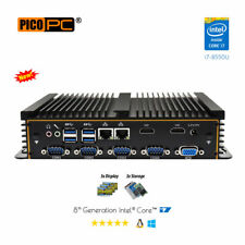 8th Gen Intel® i7 6 COM 3 Display Fanless Industrial / Marine Mini PC barebone.