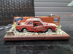 HANDMADE DIORAMA OF  A FORD  CORTINA CAR STOLEN AND DUMPED BARNFIND