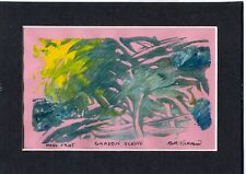 """GARDEN SCENE by Ruth Freeman MONO PRINT 5 X 7"""" WITH INCLUDED MAT"""