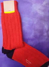 Paul Smith Mens Italian Socks Wool Alpaca Dixon Cable Thick Blood Orange K336