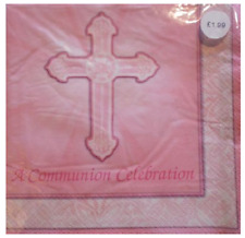 16 Pack RADIANT CROSS First Communion Pink Girls Luncheon Napkin Paper Serviette