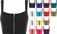 New Womens Padded Bra Strappy Zip Ladies Crop Bralet Sleeveless Bandeau Top 8-14