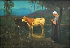 Antikes Gemälde - Junge, strickende Frau mit Kühen