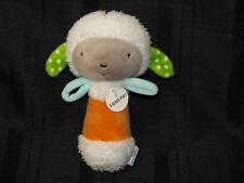 HALLMARK BABY LAMB SHEEP SQUEAK TOY RATTLE ORANGE WHITE GRAY GREEN AQUA PLUSH
