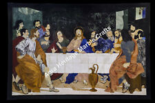 5.5'x3.5' Jesus Christ & Apostles Pietra Dura Wall Plaque Mosaic Black Table Top
