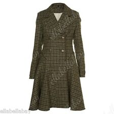 TOPSHOP Premium Wool Tartan Tweed Check Corset Lace Up Fit Flare Sherlock Coat 8