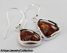 BALTIC AMBER EARRINGS 925 STERLING SILVER ARTISAN JEWELRY COLLECTION S055