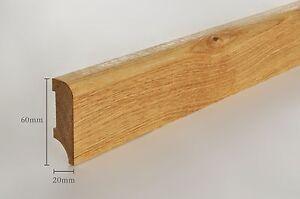 20m Sockelleisten Eiche massiv 20x60mm, 10 Stück á 2,0m farblos geölt (5,95€/m)