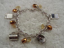 Silvertone Charm Bracelet - Cup, Cupcake, Cell Phone + (C49)