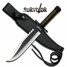 NEW! Survivor Rambo Style Hunting Knife Green Two Tone Blade w/ Survival Kit