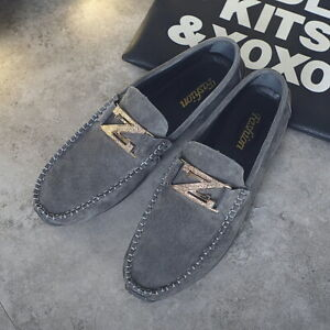 Mens leather Slip On Flat Loafers Smart Casual Shoes Moccasin Driving Shoes UK 9