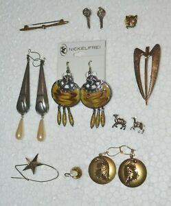Modeschmuck zum Minipreis ! Ohrringe, Anstecknadeln/Pins,Broschen u.mehr ! Set 4